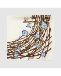 Gucci - White Bamboo Flower Print Silk Scarf - Lyst