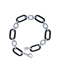 Lord & Taylor | Black Ceramic Gem Faux Diamond And Ceramic Link Bracelet | Lyst