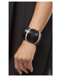 Kenneth Jay Lane | Black Frieda Stretch Cuff Bracelet | Lyst