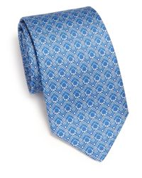 Ferragamo - Blue Diamond Dot Gancini Print Silk Tie for Men - Lyst