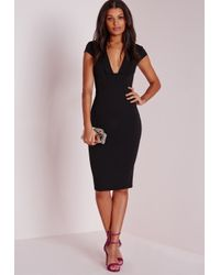 Missguided - Crepe Cap Sleeve Midi Dress Black - Lyst