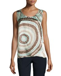 Lafayette 148 New York - Gray Talia Sleeveless Silk Print Top - Lyst
