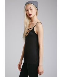 Forever 21 - Black Strappy V-neck Cami You've Been Added To The Waitlist - Lyst