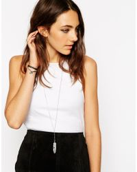 ASOS | Metallic Feather Pendant Long Necklace | Lyst