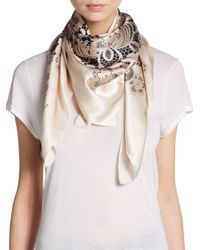 Dolce & Gabbana | White Floral Lace-Print Satin Scarf | Lyst