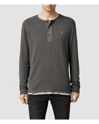 AllSaints | Gray Clash Long Sleeved Henley for Men | Lyst