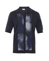 Façonnable - Blue Contrast-Panel Knit Polo Shirt for Men - Lyst