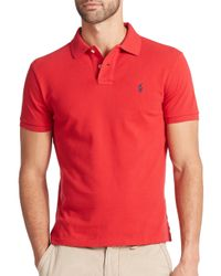 Polo Ralph Lauren | Red Custom-fit Mesh Polo for Men | Lyst