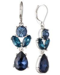 Nine West - Metallic Silver-tone Blue Crystal Double Drop Earrings - Lyst
