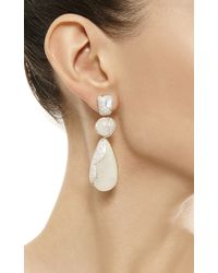 Kara Ross | White 18k Gold Moonstone and Diamond Hydra Triple Drop Earrings | Lyst