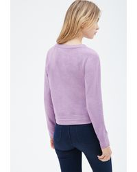 Forever 21 - Purple Drawstring Heathered Sweatshirt - Lyst