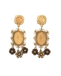 Dolce & Gabbana - Metallic Heritage Madonna Earrings - Lyst