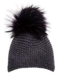 Inverni | Gray Fur Bobble Beanie | Lyst