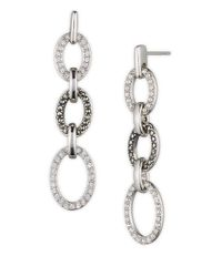Judith Jack | Metallic Sterling Silver Marcasite And Crystal Open Oval Linear Earrings | Lyst