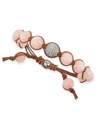 Tai - Metallic Ice Pink Agate Beaded Bracelet with Pave Gunmetal Bead - Lyst