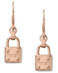 Michael Kors | Pink Rose Goldtone Padlock Drop Earrings | Lyst