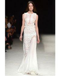 Nina Ricci - White Silk Chiffon And Lace Patchwork Dress - Lyst