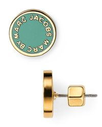 Marc By Marc Jacobs - Green Enamel Logo Disc Stud Earrings - Lyst