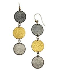 Gurhan | Metallic Silver Contour Triple Round Drop Earrings | Lyst