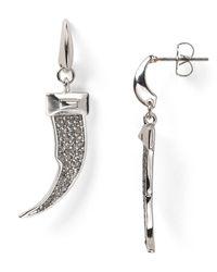Rebecca Minkoff - Metallic Pave Horn Shaped Earrings - Lyst