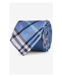 Express - Blue Narrow Plaid Silk Tie - Gray for Men - Lyst
