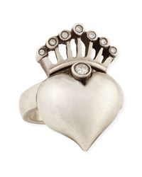 Irit Design | Metallic Silver Heart & Crown Ring With Diamonds | Lyst