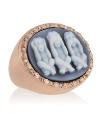 Amedeo - Blue See No Evil Rose Goldplated Agate And Diamond Monkey Cameo Ring - Lyst