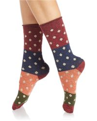 Free People | Red Polka Dot Crew Socks | Lyst