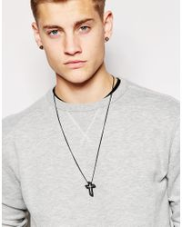 ASOS - 3d Cross Pendant Necklace In Matte Black for Men - Lyst