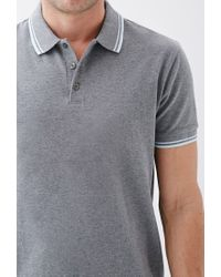 Forever 21 - Gray Stripe-trimmed Piqué Polo for Men - Lyst