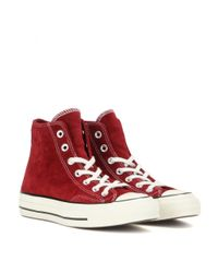 Converse - Red Chuck Taylor Suede High-top Sneakers - Lyst