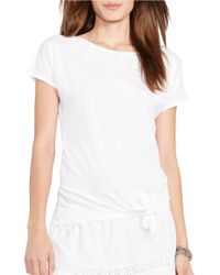 Lauren by Ralph Lauren | White Tied-hem T-shirt | Lyst