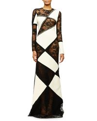 Fausto Puglisi - Black Long-sleeve Patchwork Lace Gown - Lyst