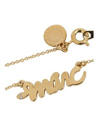 Marc By Marc Jacobs | Metallic Gold Tone Snake Logo Necklace | Lyst