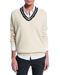 Brunello Cucinelli - White Sequined V-neck Cashmere Sweater - Lyst