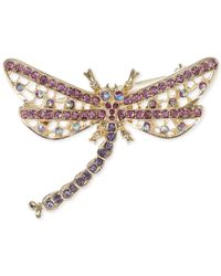 Jones New York - Pink Gold-Tone Multicolor Dragonfly Pin - Lyst
