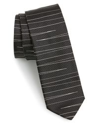 HUGO - Black Woven Silk Tie for Men - Lyst