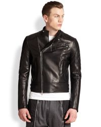 DSquared² - Black Quilted Leather Motorcycle Jacket for Men - Lyst