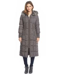 T Tahari | Gray 'elizabeth' Faux Fur Trim Hooded Long Down Coat | Lyst