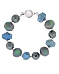 Lord & Taylor | Metallic Sterling Silver Bracelet With Mixed Blue Beads And Quartz | Lyst