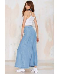 Nasty Gal - Blue Field Of Dreams Denim Maxi Skirt - Lyst