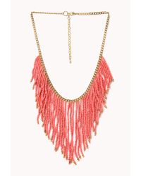 Forever 21 | Blue Worldly Beaded Fringe Necklace | Lyst
