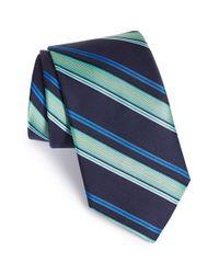 Ted Baker - Blue 'ground Stripe' Silk & Cotton Tie for Men - Lyst