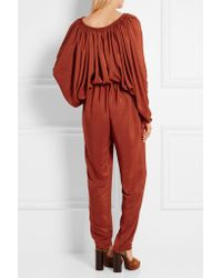 Lanvin - - Tasseled Washed-satin Jumpsuit - Orange - Lyst