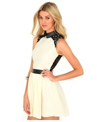 Missguided | Yellow Ganesa Lace Back Skater Dress | Lyst