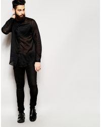 Asos Collarless Shirt In Long Sleeve With Sheer Fabric in Black ...