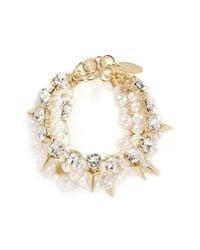 Joomi Lim   White Arrowhead Spike Crystal Faux Pearl Bracelet   Lyst