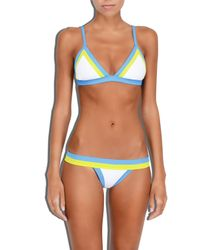 MILLY - Blue Cabana Amalfi Colorblock Triangle Bikini Top - Lyst