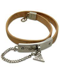 Guess | Metallic Rhodium-tone Faux-leather Wrap Bracelet | Lyst