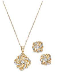 Macy's | Metallic Diamond Love Knot Jewelry Set In 10k Gold (1/10 Ct. T.w.) | Lyst